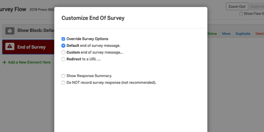 Available options in the Customize End of Survey option