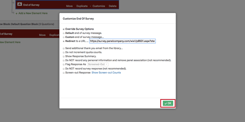 image showing the OK button highlighted in the customize end of survey screen