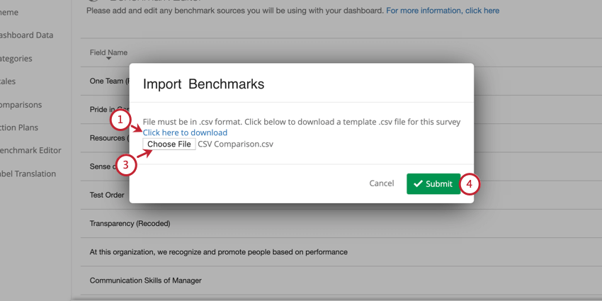 image of the csv benchmark import screen