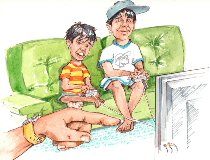 Two little boys playing video games on the couch. We can see their father's hand pointing off screen, likely encouraging them to go outside