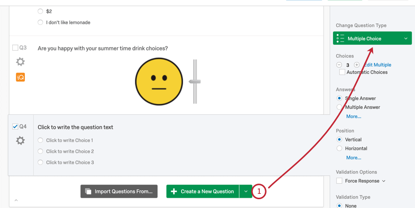 Selecting the green create question button at the bottom of the block; in question editing pane, see it says multiple choice in the upper-right of the editing pane to the right