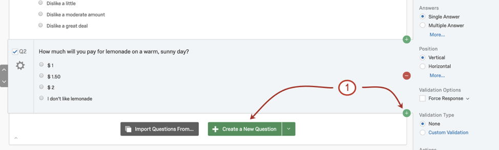 Create question button in green bottom of block; green plus on right
