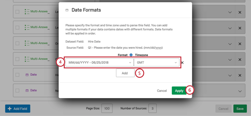 Dropdowns on a new window for setting the format