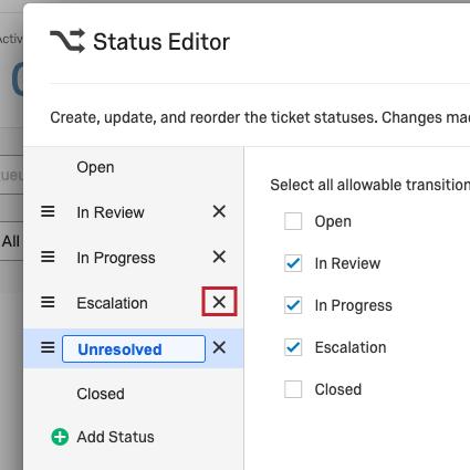 X icon next to status
