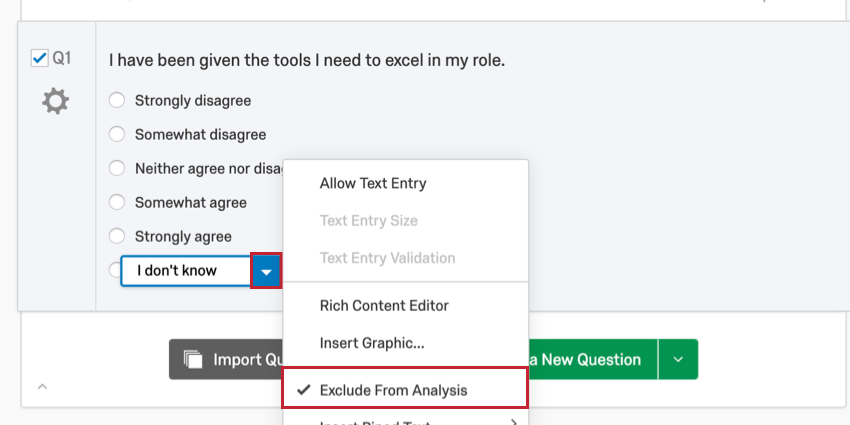 Question in survey tab. Choice selected, blue dropdown arrow selected