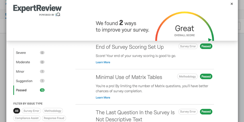 ExpertReview modal has survey improvement suggestions