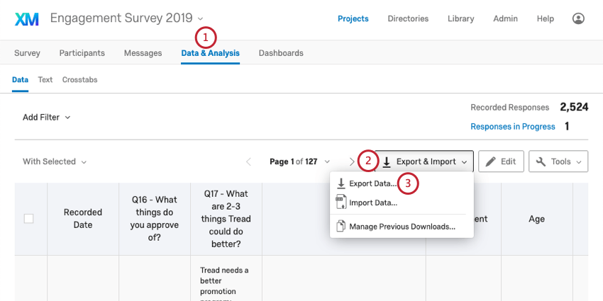 Export and Import button expanded to reveal the Export Data option