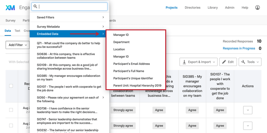 Add Filter dropdown expanding to reveal filtering options
