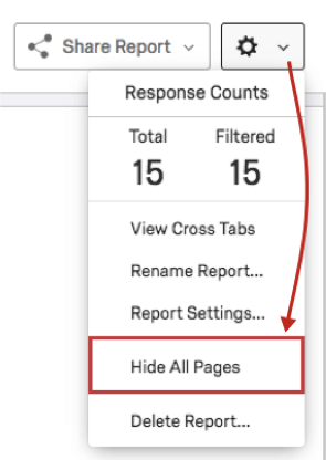 Settings dropdown is a gear in the upper-right of a report. Hide all pages is second to last option