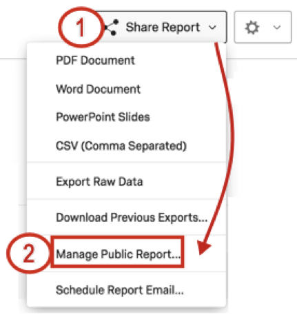 Share report dropdown on far-right of reports; manage public report is second to last option