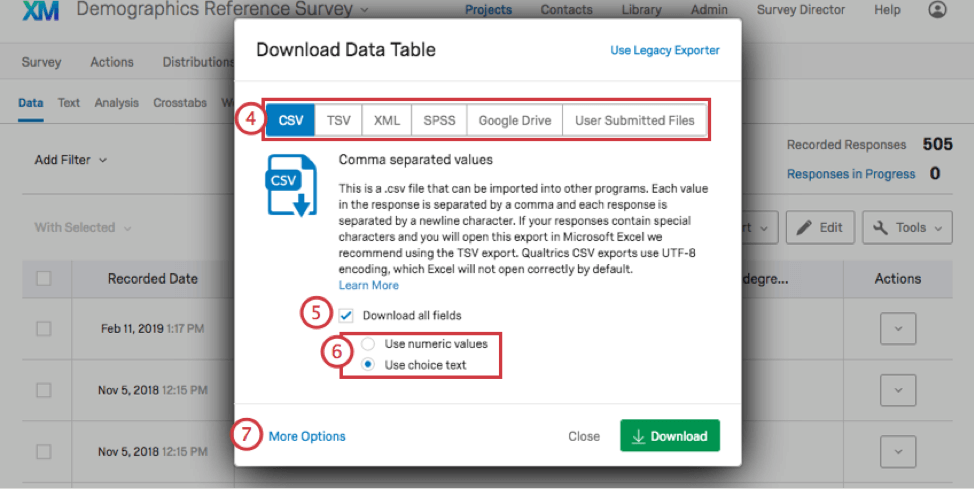 Download data table window