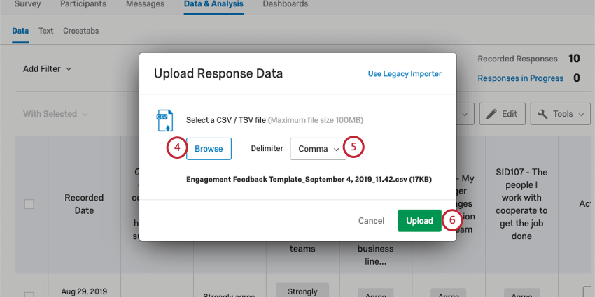 Upload Response Data menu with Browse button, Delimiter dropdown, and Upload button