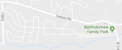 Map of a street named Canyon road with a park at the end