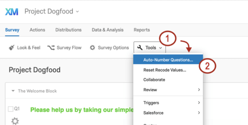 First option under Tools is the auto number option