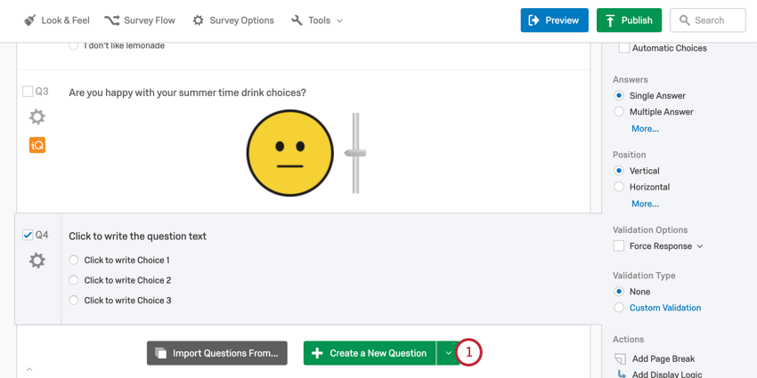 Create question button in green at bottom of the block