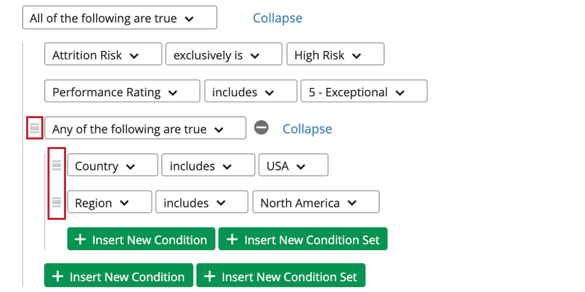 3 line icons next to left of conditions and sets