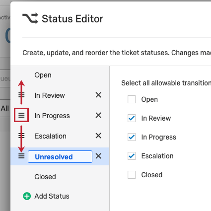 Reorder button highlighted with arrows showing movement