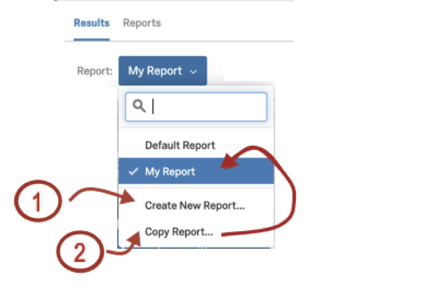 Report selection dropdown upper-left