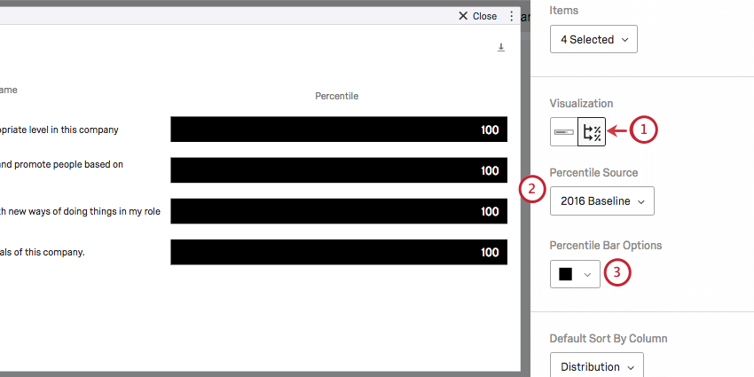 Visualization type selection, Percentile Source, and Percentile Bar Options on the editing pane