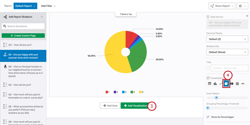 Pie chart. Visualization type option is in editing pane to right