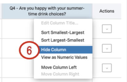 Hide column is fourth to last option in column dropdown
