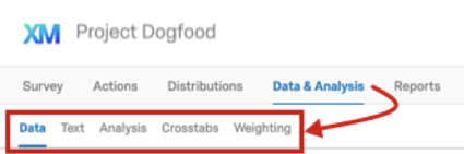 Inside Data and Analysis, the next row of tabs under that