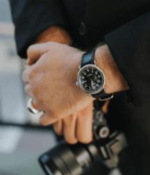 A Shinola watch on a man's wrist