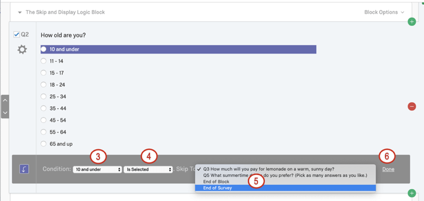 Choice selected highlighted in purple; dark grey along the bottom of question where you configure the skip logic