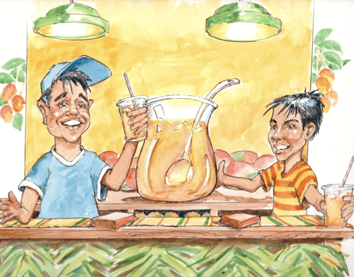 The boys at their lassi stand; the stand is decorated with palm fronds, and the boys are holding their arms out in triumph