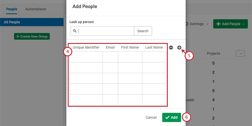 Adding an individual's information in the Add People window