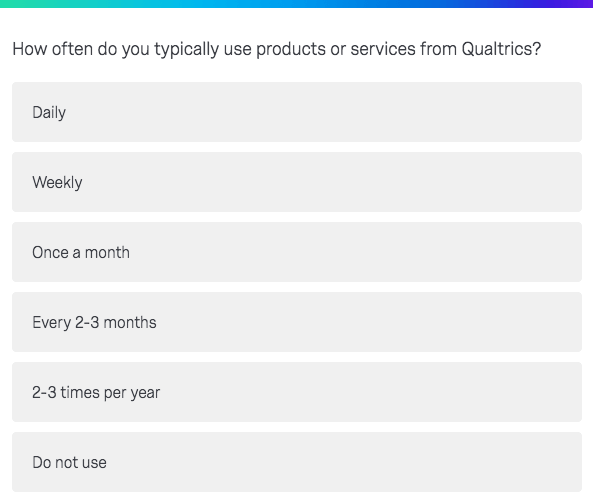 How often do you typically use products or services?