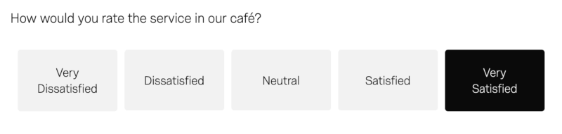 How would you rate the service in our café? Very dissatisfied to Very satisfied