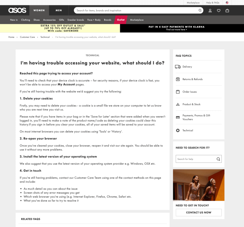ASOS Website Help Page