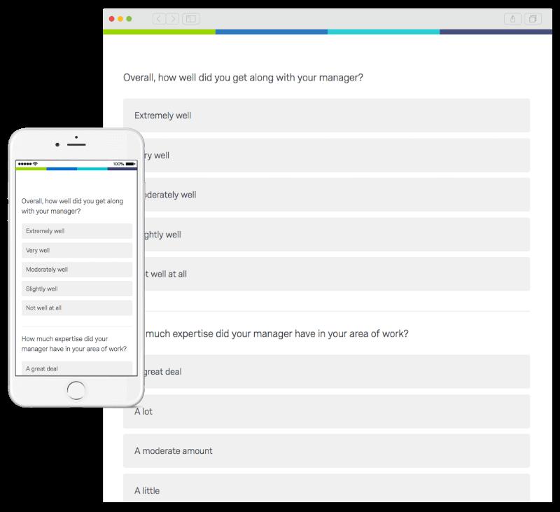 Qualtrics employee pulse survey on phone and desktop PC