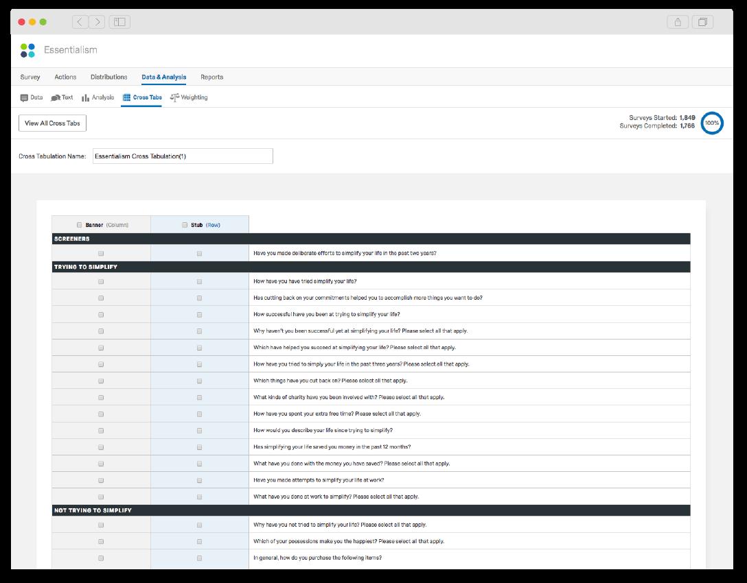 Qualtrics cross tab analysis project setup
