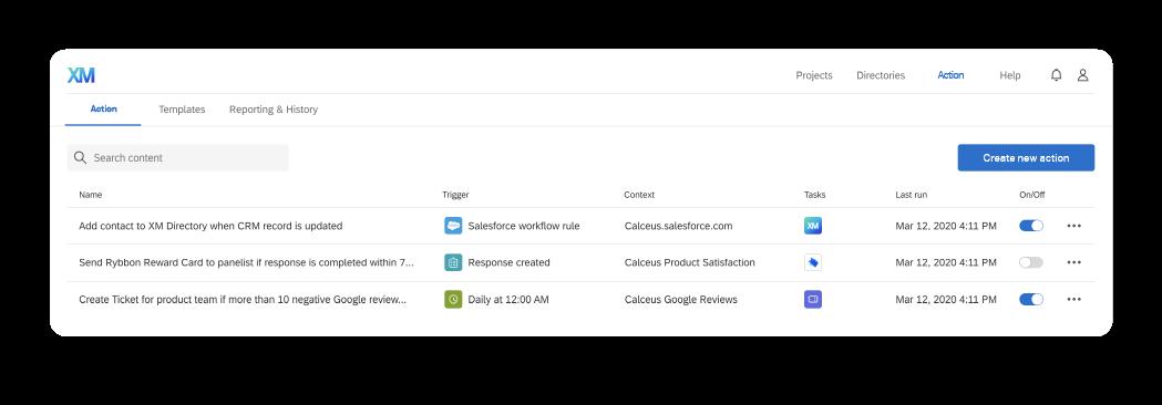 Actions dashboard screenshot