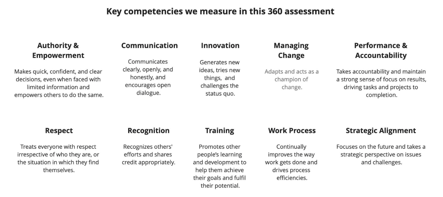 360 feedback questions - key competencies