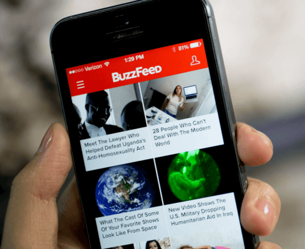 Buzzfeed homepage on mobile device