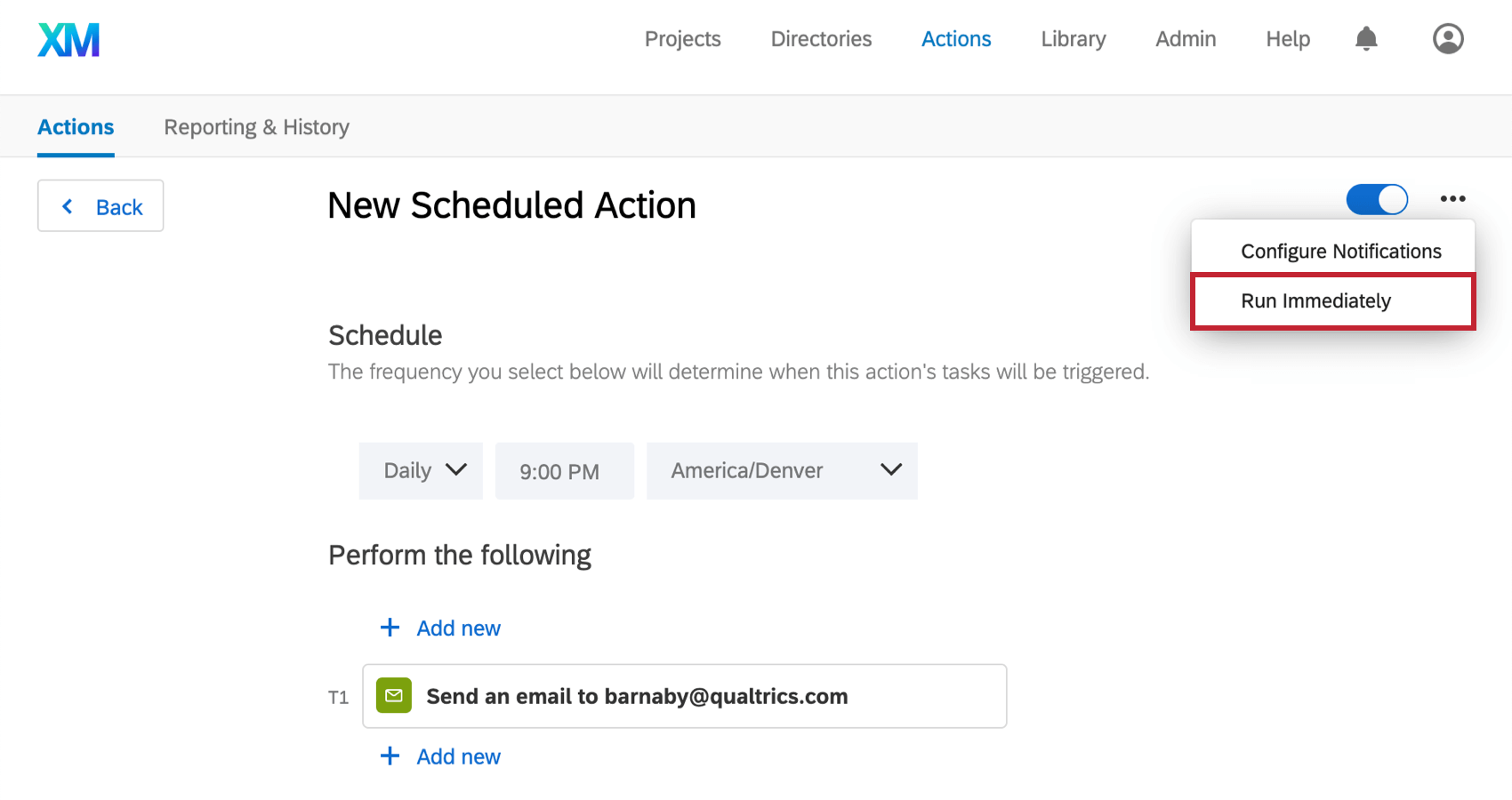 "Have a scheduled aciton opened in the global actions page, and from a dropdown, there's an option to ""run immediately"""
