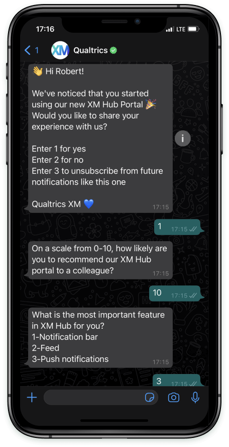 A WhatsApp conversation on an iphone. In the introductory message that asks for the respondent's consent, there's a blue heart emoji