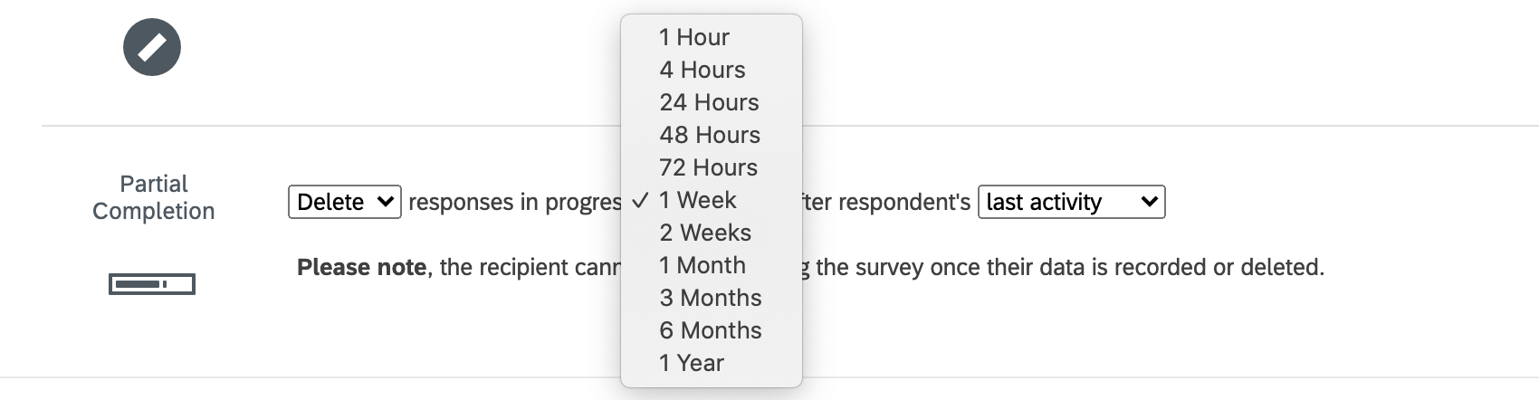"In the survey options, last section, named ""partial completion settings."" It says to delete responses in progress, then gives a huge list of timeframes, then says ""after respondent's last activity."""