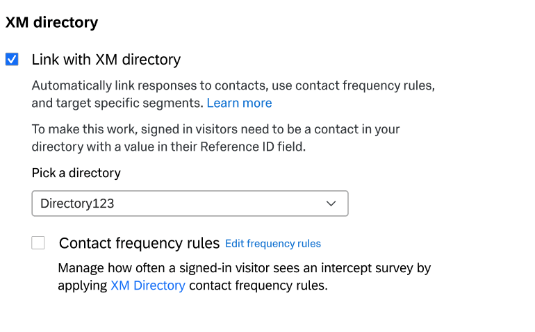 "Settings that say ""Link with XM Directory"" and then let you choose from your multitude of directories"