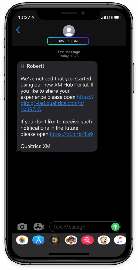 """A message sent from """"Qualtrics XM,"""" rather than a phone number"""