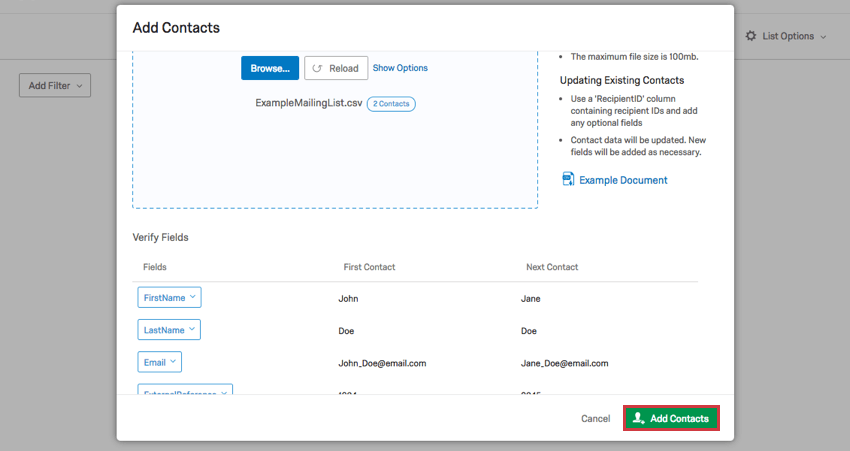 Contacts Basic Overview - Qualtrics Support