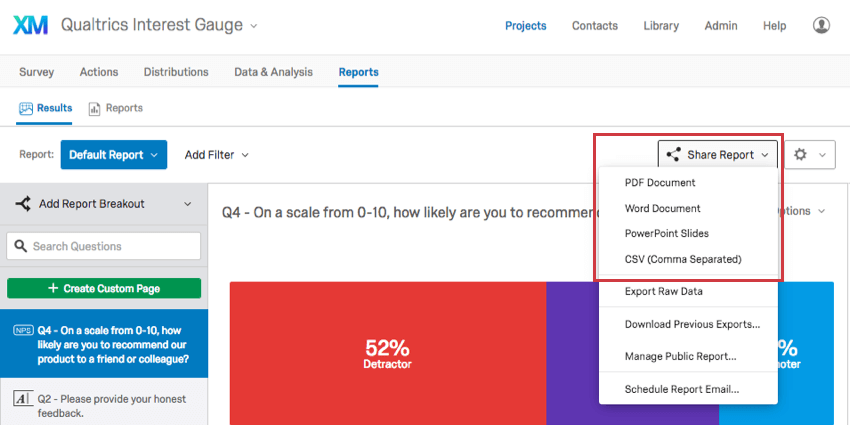 Exporting Results-Reports - Qualtrics Support