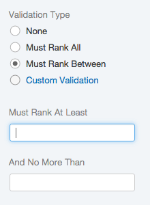 Validation set to Must Rank Between with boxes for the values that must be ranked between