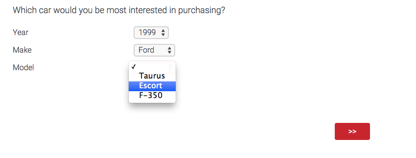 A question that asks which car you'd be most interested in purchasing, with separate dropdowns for Year, Make, and Model