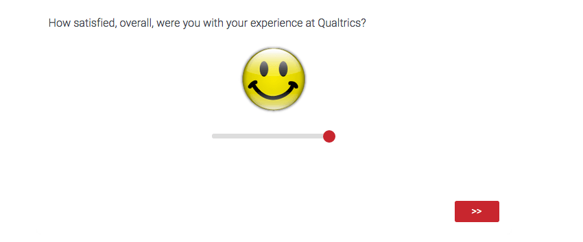 A question where the response is given on a smiley face, with a slider that changes its expression