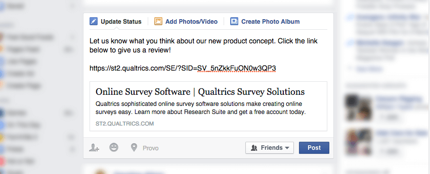 A Qualtrics link posted to Facebook