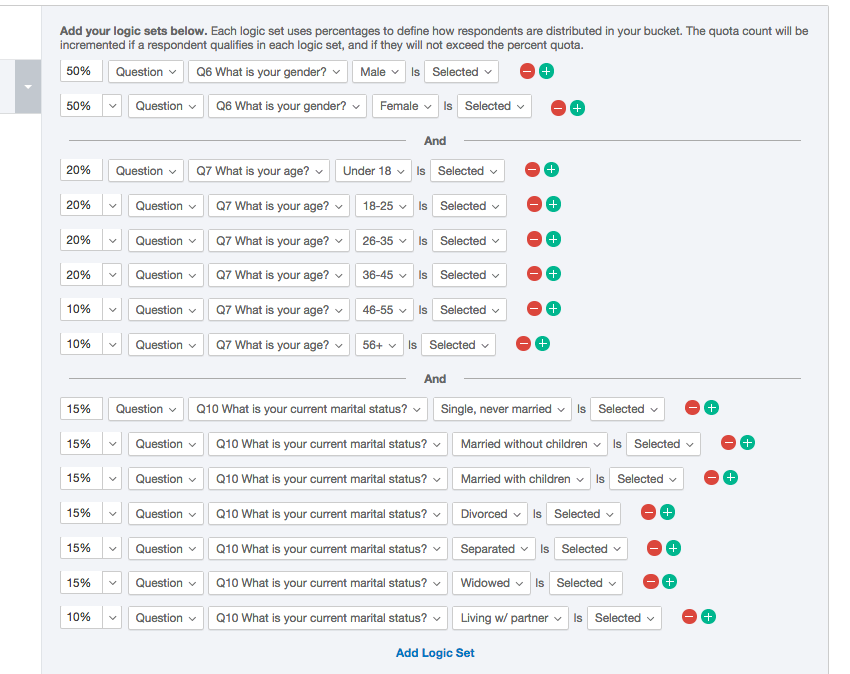 A massive list of quota conditions broken down by what percentage each choice should be of the overall quota
